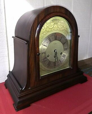 1924 Tiffany & Co. Herschede Mahogany Mantel Clock 1/4 Hour Westminster Chime.