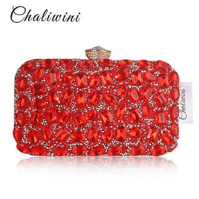red  crystal /rhinestone  bridal /prom   Party Ladies Evening Clutch Bags  e 21