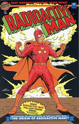 Radioactive Man #1 Comic Book key issue with poster - NM - Simpsons