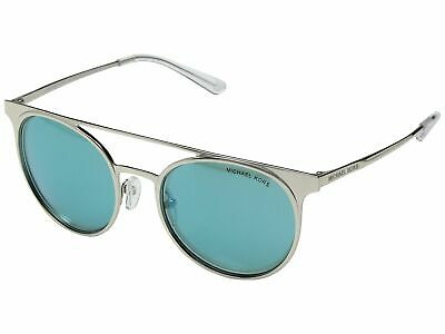 fb9fa7c552fac Michael Kors MK1030 113725 Grayton Sunglasses Shiny Silver Teal Mirror Lens  52mm