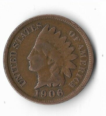 Rare Very Old Antique US 1906 Indian Head Penny USA One Cent Collection Coin IHP
