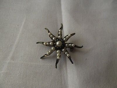 Vintage BROOCH PIN Pink Rhinestone crystal faux pearl star sun silver victorian