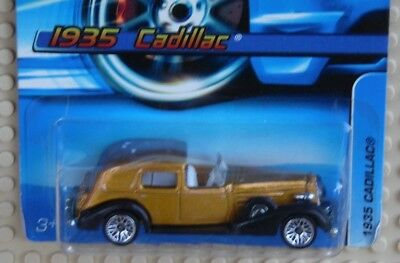 2005 Hot Wheels Classic Gold & Black 1935 Cadillac * Paint Flaw * Very Good Card