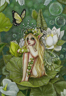First in Series Acrylic 8\u00d710 Canvas with Frame Green Staff of Power Fantasy Sci-Fi Fairy Art Faerie Folk Painting Wall or Table Gift!