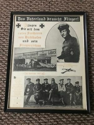 """Framed Print- Vintage """"Red Baron & his Flying Circus"""" Advertisement-Nice"""