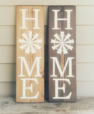 3ef0301b67af1 VERTICAL HOME WITH WINDMILL Wood Sign Primitive Rustic Farmhouse Wall Decor