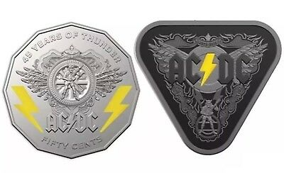 💰2018 AC/DC 45 Years of Thunder-Triangular $5-Silver Proof Coin & 50c -Unc Coin