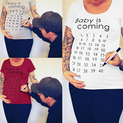 Funny Print Women Maternity Pregnant T-Shirts Cotton Tops Short Sleeve Clothes