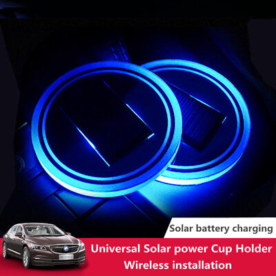 Solar Charge Car Cup Holder Bottom Pad Mat LED Light Cover Trim Atmosphere Lamp