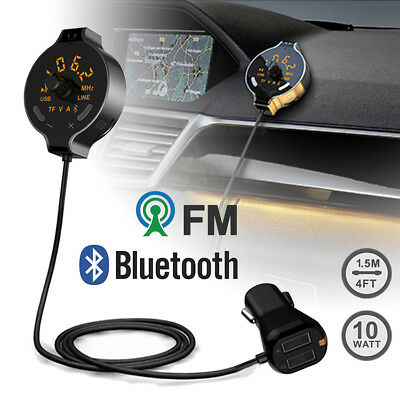 Bluetooth Car FM Transmitter Wireless Radio Adapter USB Charger TF/Mp3 Player