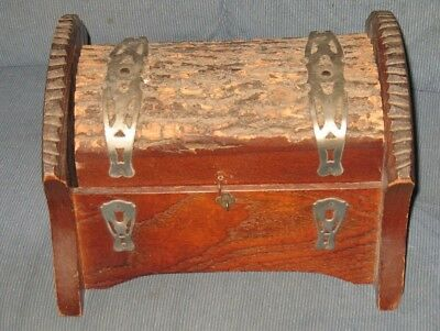 Rare Antique Vintage wooden Log shaped lid wood primitive box with inlays