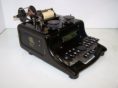 Antique Stenotype 1st Model 1911 Stenograph Typewriter w/Case and with