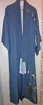 Vintage Japanese Blue Grey Floral Silk Kimono Great Condition