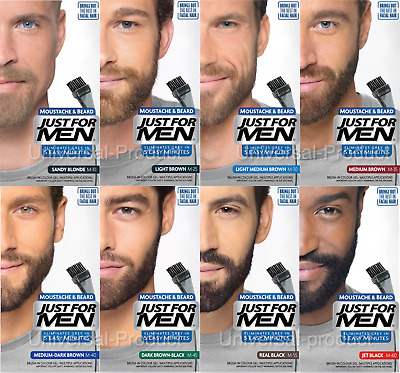 3x Just For Hommes Moustache et Barbe Gel Cheveux Colorants Teinture Véritable