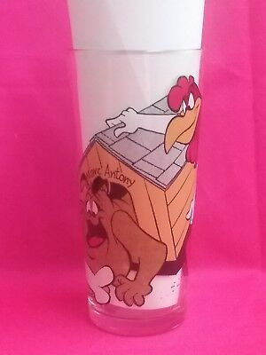 Vintage LOONEY TOONS FOG HORN LEG HORN Marc Antony Pepsi glass new unused 1976
