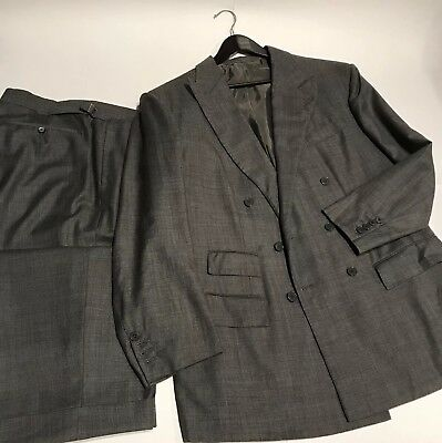 * ANDERSON & SHEPPARD * Savile Row London Grey Sharkskin 2Btn Bespoke Suit 46R