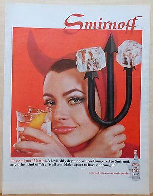 "1968 magazine ad for Smirnoff Vodka - Woman ""devil"" with Smirnoff Mariini"