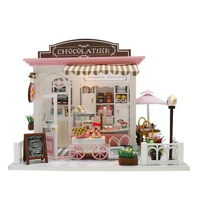 DIY Miniature Dollhouse Handcraft Kit Furnitures Wooden House Girl Xmas Gifts