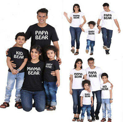 Matching Family Clothes Mommy Dad Toddler Kids Baby T-shirt Papa Bear Outfits UK