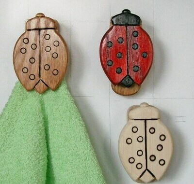 LADYBUGS wooden towel hanger wall mount hook stick up adhesive Country decor