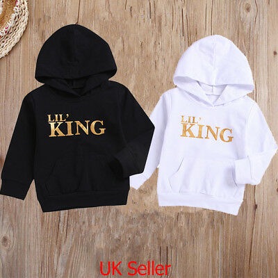 "Toddler Baby Boys Outfits Clothes ""LIL' KING"" Hoodie Tops T Shirt Tracksuit 0-4Y"