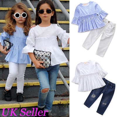 UK Toddler Kids Baby Girls Clothes Ruffle Tops T Shirt Long Pants Outfits Set