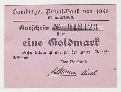 1 Goldmark Banknote wertbeständiges Notgeld Hamburger Privat Bank 1923 (116345)