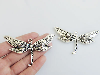 4Pcs Large Tibetan Silver Dragonfly Charms Pendants Jewelry Necklace Beads 79mm