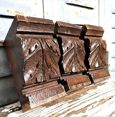 Solid Three Acanthus Leaves Pillar Corbel Bracket Antique French Wood Ornament