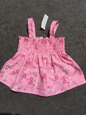 BNWOT Baby Girls Short Sleeve Pink Bather Top Size 6-12 Months