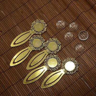 5Set 18mm Clear Domed Glass Cabochon Cover ForDIY Alloy Portrait Bookmark Making