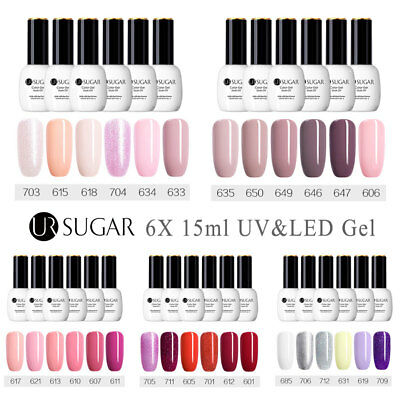 6 Bottles Colors Set Gel Nail Polish UV LED Soak Off Top Base Varnish Salon 15ML