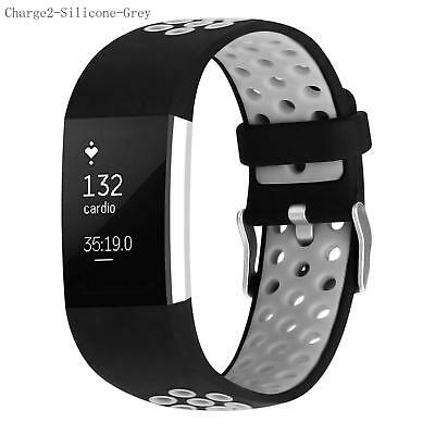Grey Replacement Silicone Watch Wrist Bands Strap For Fitbit Charge 2 Wristband