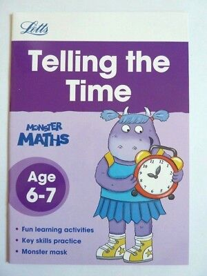 KS1 Telling The Time Letts Monster Early Learning WorkBook With Mask Ages 6-7 Yr