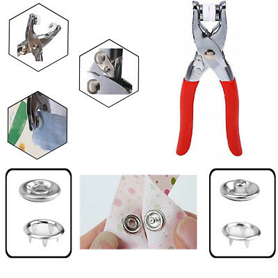 100pcs Silver Metal Snap Fastener Poppers Ring Press Stud 9.5mm with Prong Plier