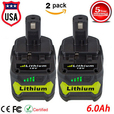 2 Pack 6.0Ah P164 P193 for Ryobi ONE+ 18V Lithium-Ion Compact Battery P108 P104