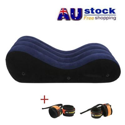AU Inflatable Sofa Couples Sex Bed Chair Pillow Pad + Handcuffs + Feet Shackles
