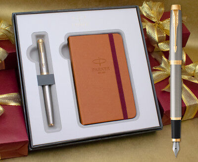 Parker IM Fountain Pen Gift Set - Brushed Metal Gold Trim with Free Notebook