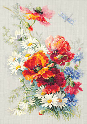 "Counted Cross Stitch Kit MAGIC NEEDLE (WONDERFUL NEEDLE) - ""Poppies and Daisies"""