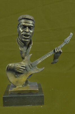 10 Inch Guitar Player Hot Cast Decorative Figurine, Bronze Good Quality Statue
