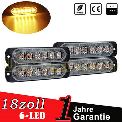 4x LED Umrissleuchte 6-led Light Bar Blinker Lichtleisten Gelb auto für JEEP 12V