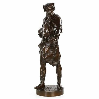 19th Century French Bronze Antique Sculpture of a Sculptor by Emile Picault