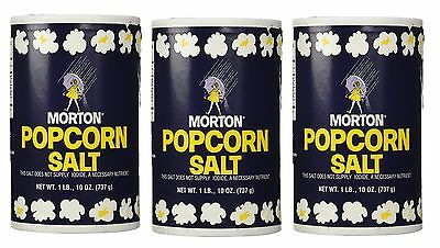 3 Morton Popcorn Salt NO IODINE, 1Lb 10oz each
