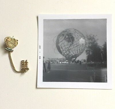 New York Worlds Fair 1964 1965 UNISPHERE Dangle Pin and Snapshot