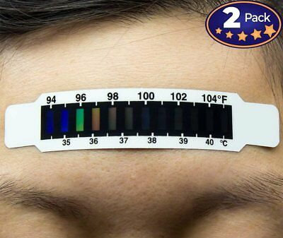 Hassle-Free Forehead Thermometer Strips 2 Pack. Travel-Sized & Reusable...