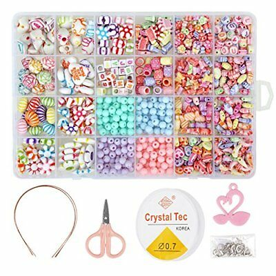 850PCS DIY Bead Set with a Coiling, a Scissors and 3 Hairpins, 24 Different and