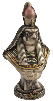 Egyptian Horus Bust On Plinth Sculpture Statue Figurine - GIFT BOXED