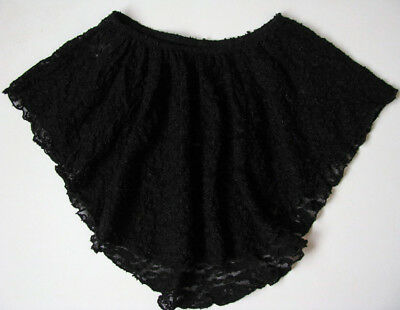Unbranded Black Stretch Lace Hi Lo Dance Skirt womens XS S PA Petite Adult