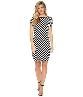 3f30f610579  175 Michael Michael Kors Womens Black White Striped Ruffled Sheath Dress  Size L