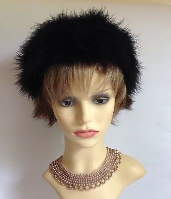 Ginette Delance Vintage 1960s Black Ostrich Down Feather Hat Lined 21 Inch Hat